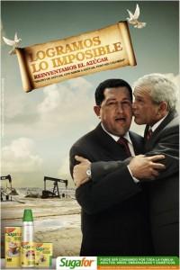 Sugarfor Bush et Chavez s'embrassant