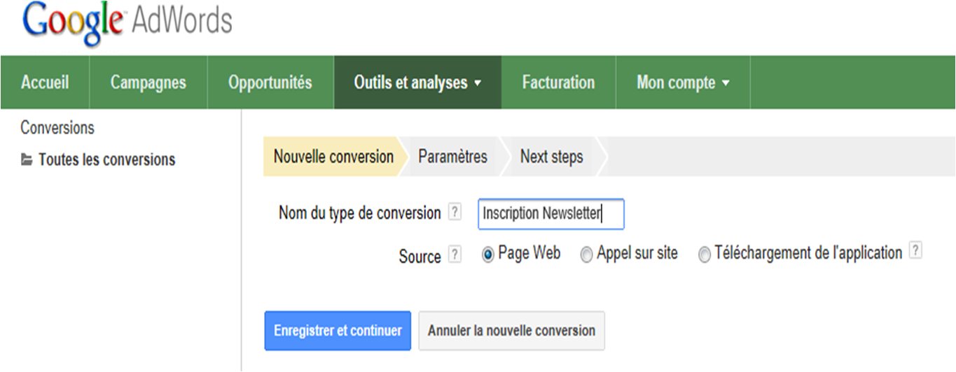 nom de la conversion Adwords