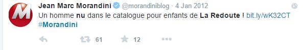 la redoute l'homme nu réaction Morandini