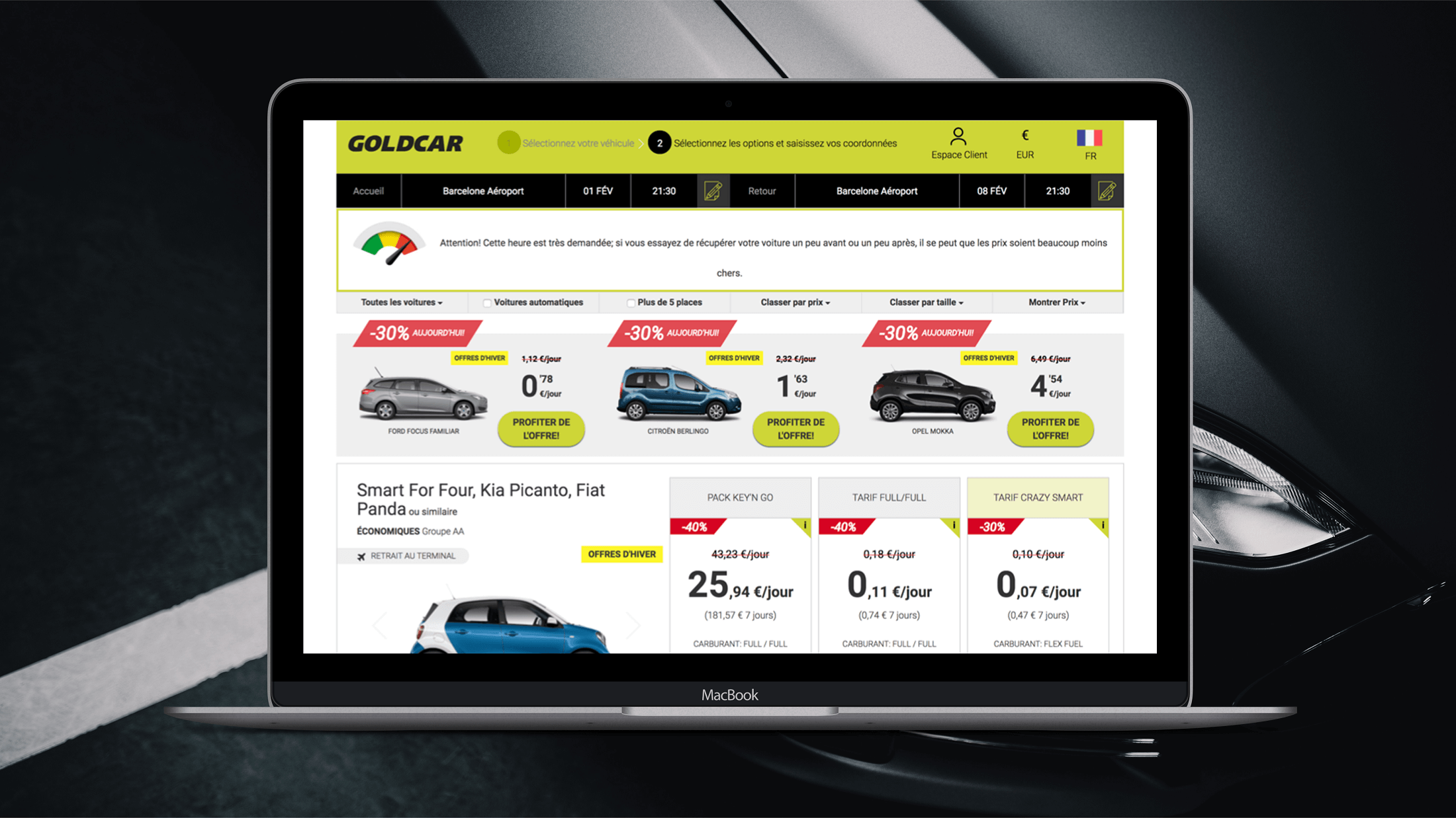 Goldcar website UX